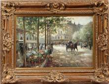 A. PERT CONTEMPORARY OIL ON CANVAS FRENCH MARKET