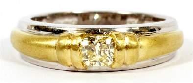 NATURAL YELLOW DIAMOND, PLATINUM & WHITE GOLD RING