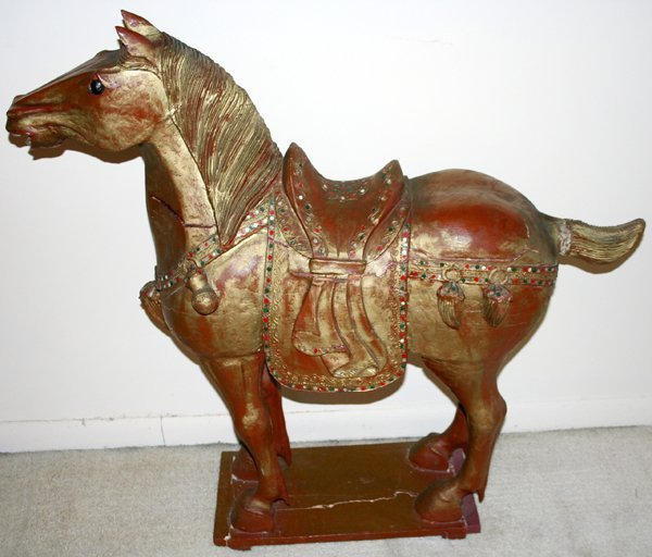 """040017: CHINESE CARVED WOOD HORSES, H38"""" L40"""" D14"""""""