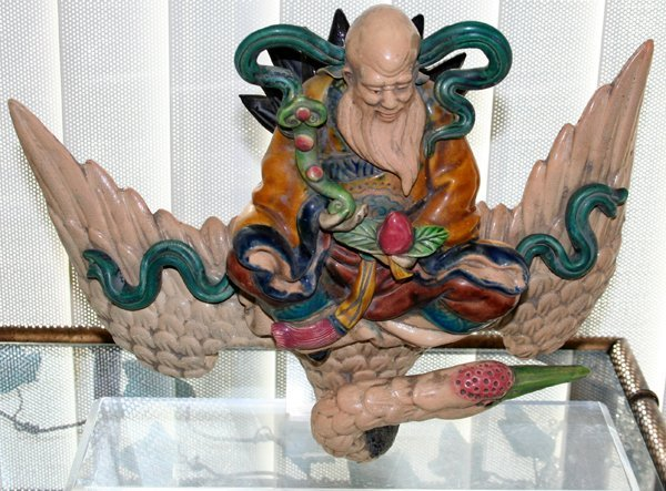 """040020: CHINESE ROOF TILE, SAGE RIDING SWAN, 12""""x14"""""""