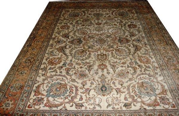 """040024: TABRIZ WOOL PERSIAN CARPET, 13'x10'2"""""""