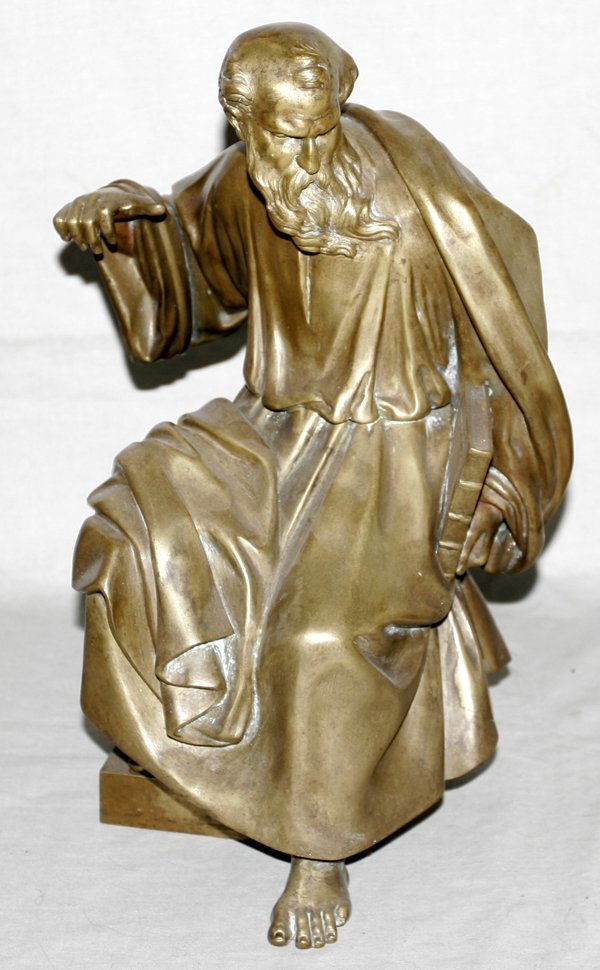 040034: BRONZE SCULPTURE OF A SEATED PHILOSOPHER