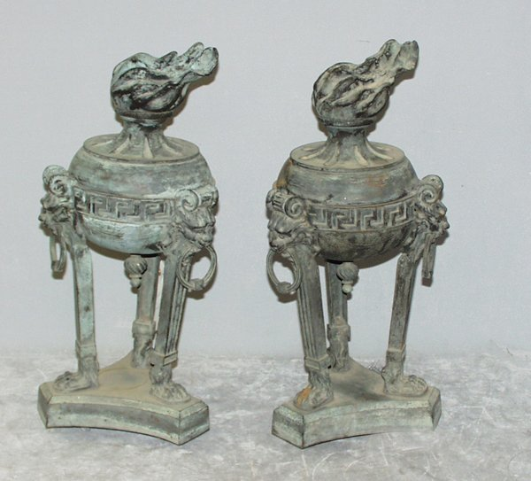 """040035: CLASSICAL STYLE BRONZE TAZZAS, PAIR, H22"""""""