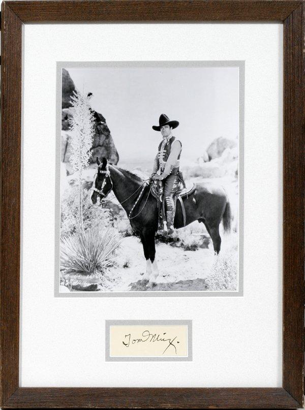 040305: TOM MIX AUTOGRAPHED BLACK & WHITE PHOTOGRAPH