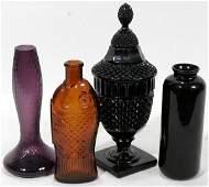 040401: AMERICAN AMBER & AMETHYST PRESSED GLASS