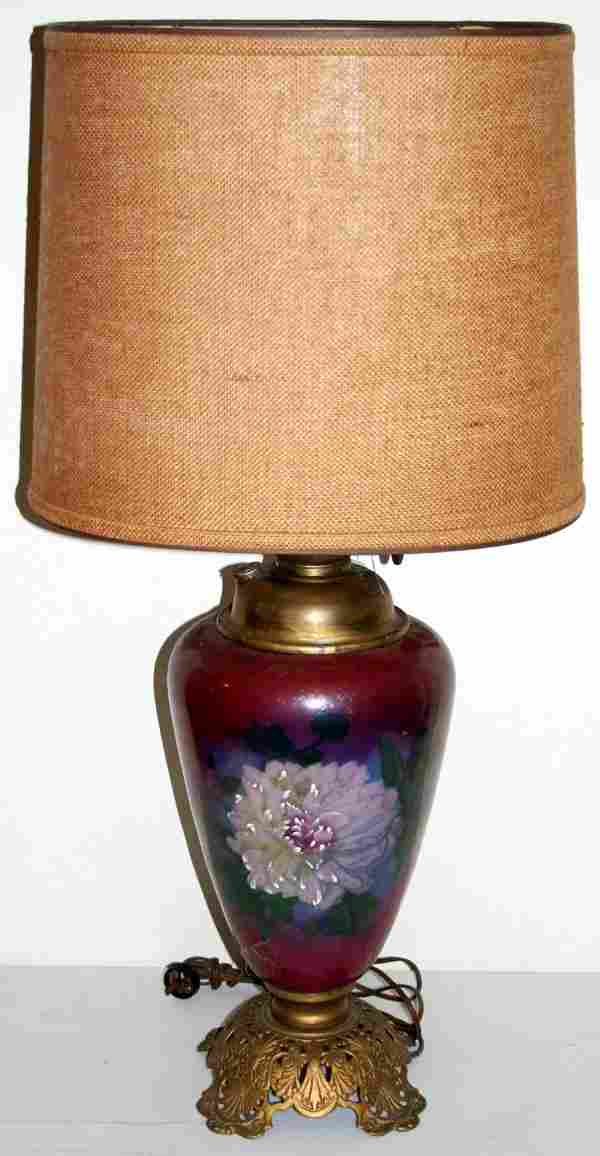 VICTORIAN HAND PAINTED GLASS & BRASS OIL LAMP