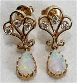 041149 14K GOLD OPAL  DIAMOND DANGLE EARRINGS