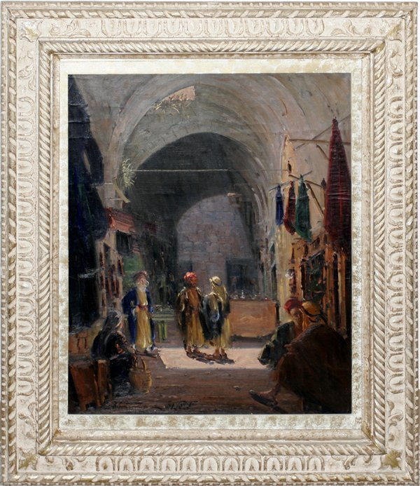 042001: LUDWIG BLUM OIL ON CANVAS, JERUSALEM OLD CITY
