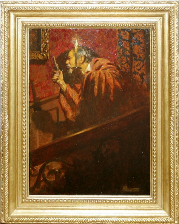 042002: JOHN BYAM SHAW OIL ON PANEL, MAN ON STAIRWAY