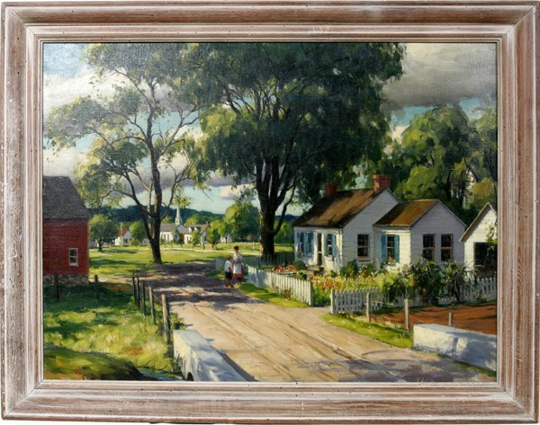 042003: HARRY LEITH-ROSS OIL ON CANVAS, HOUSE BY ROAD