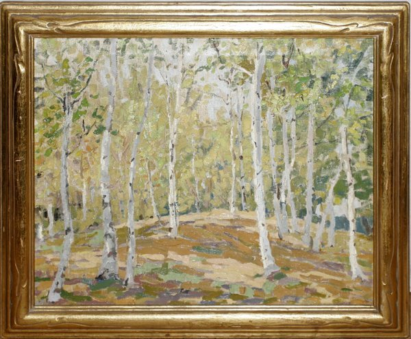042008: JESSIE K. CHASE OIL ON CANVAS, BIRCH TREES
