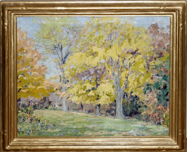 "042009: JESSIE K. CHASE OIL ON CANVAS, ""AUTUMN TREES"""