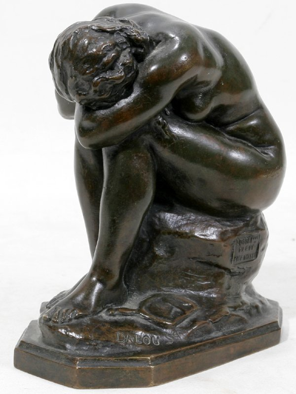042016: AIME JULES DALOU BRONZE SEATED NUDE