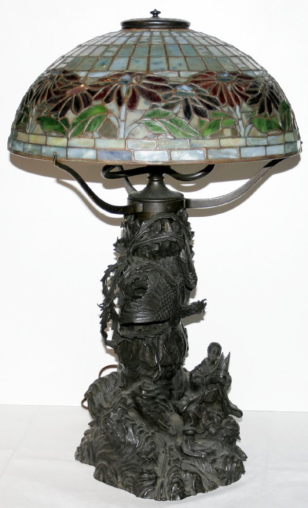 "042204: BRONZE LEADED GLASS LAMP, H25.5"" DIA16"""