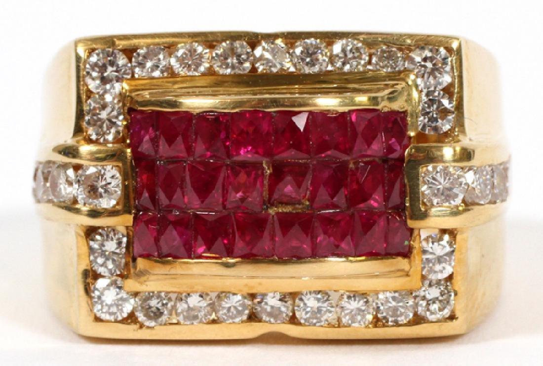 18KT YELLOW GOLD, RUBY, & DIAMOND RING