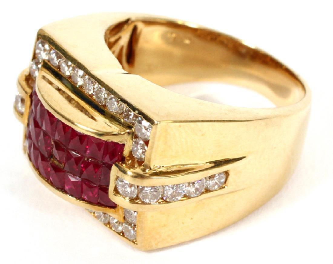 18KT YELLOW GOLD, RUBY, & DIAMOND RING - 2