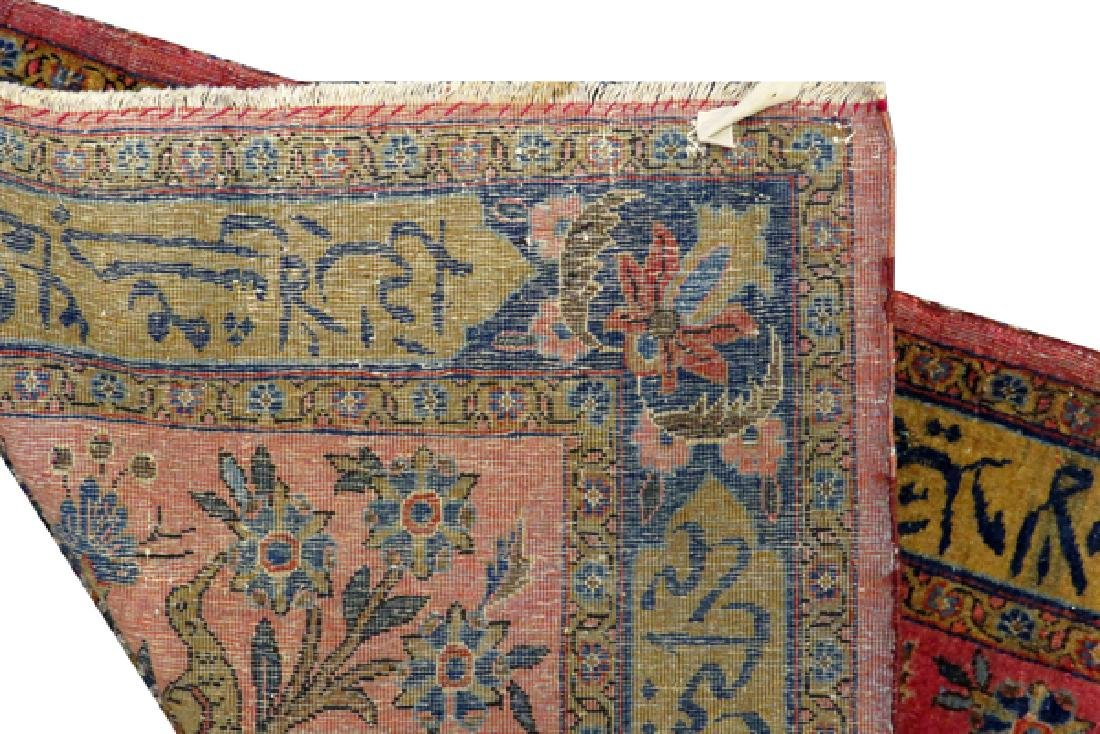 ANTIQUE PERSIAN KASHAN HAND WOVEN WOOL RUG - 5