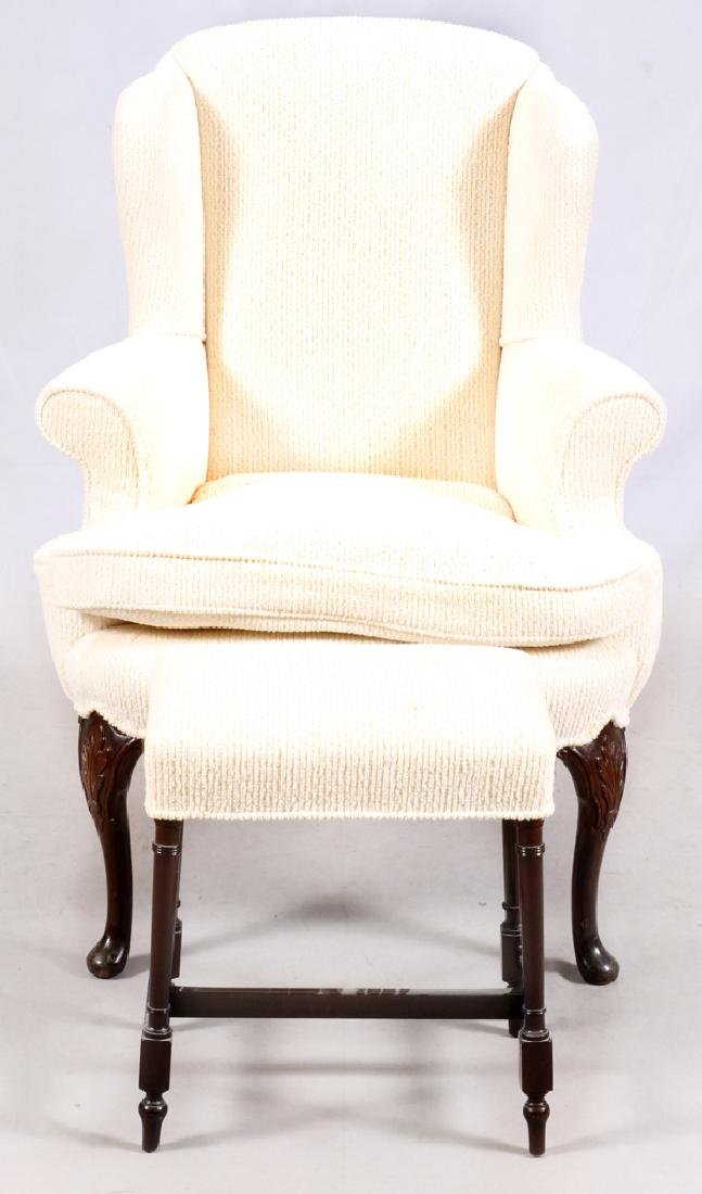 WHITE UPHOLSTERED WING-BACK CHAIR & OTTOMAN