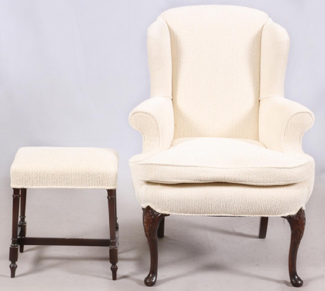 WHITE UPHOLSTERED WING-BACK CHAIR & OTTOMAN - 2