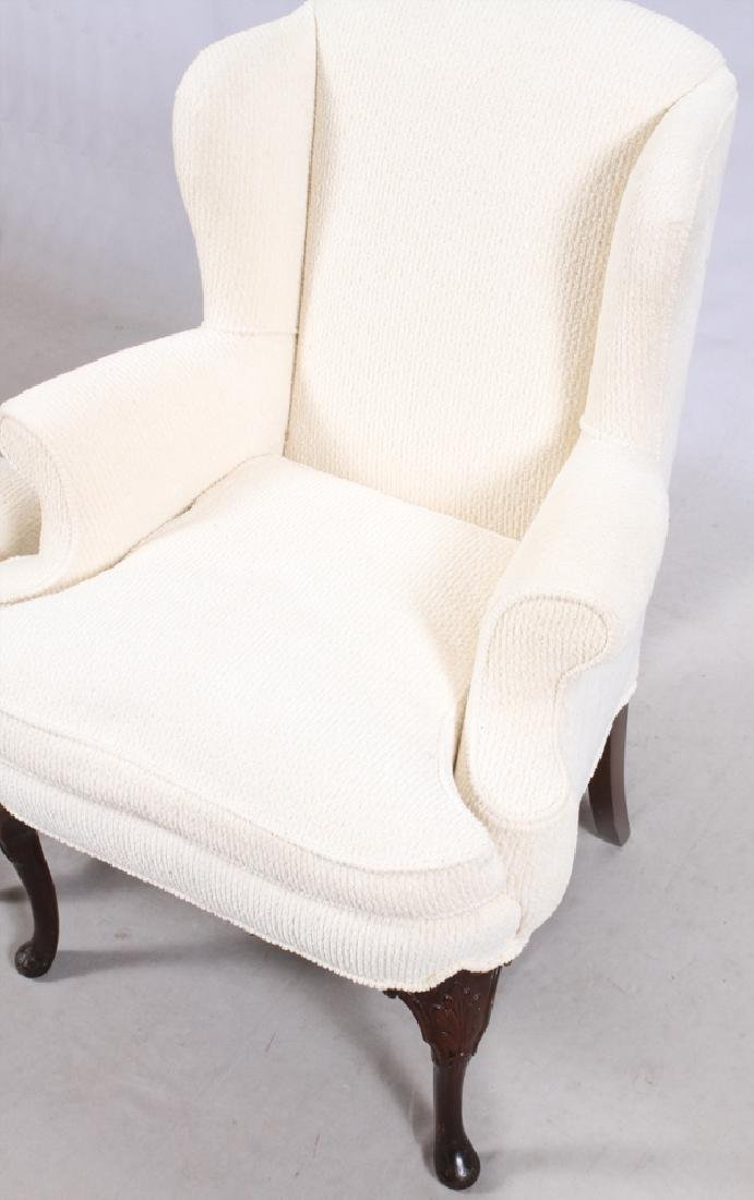 WHITE UPHOLSTERED WING-BACK CHAIR & OTTOMAN - 3
