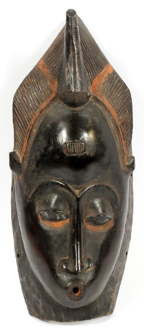 """AFRICAN CARVED WOOD MASK, H 16"""" W 7"""""""