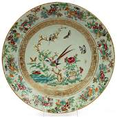 CHINESE ROSE MEDALLION PORCELAIN CHARGER 19TH C