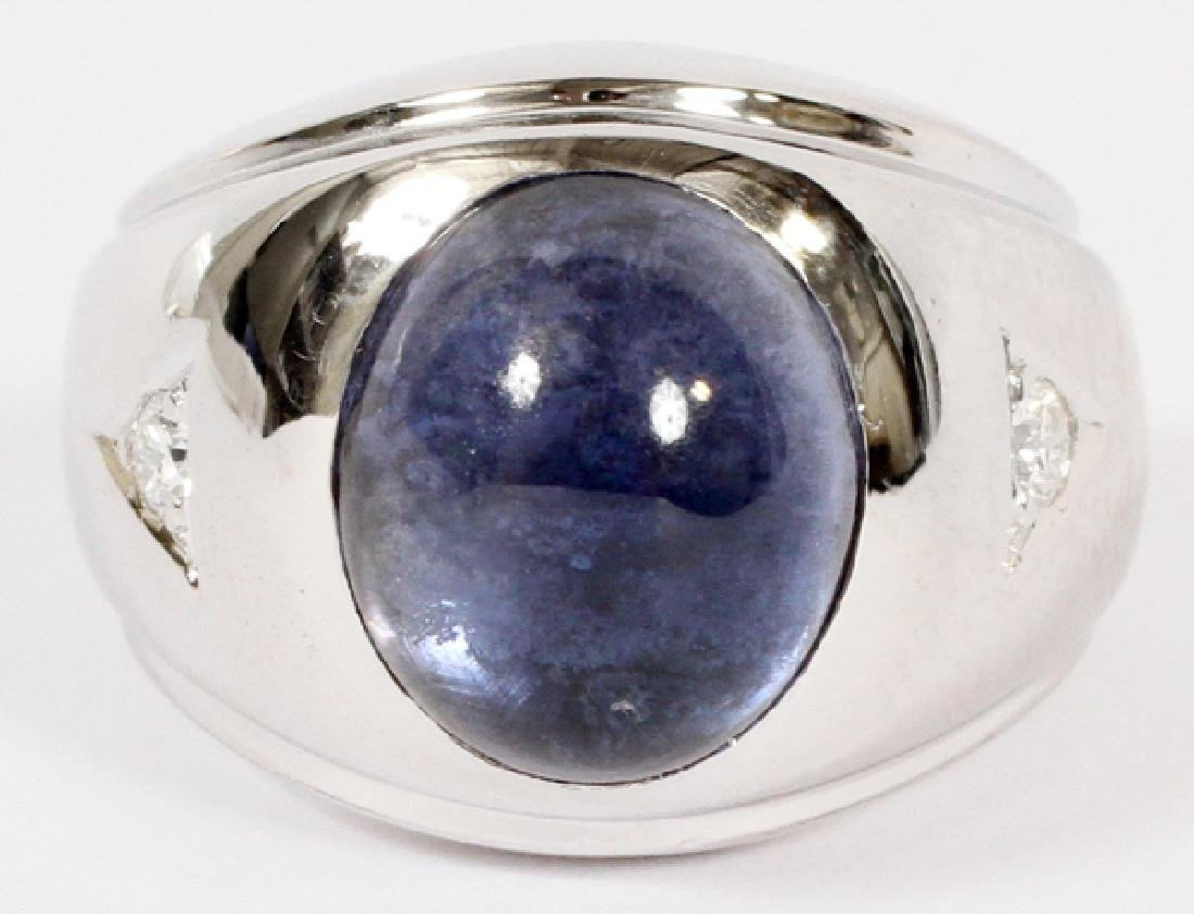 SAPPHIRE CABOCHON, DIAMOND, & 14KT GOLD MEN'S RING