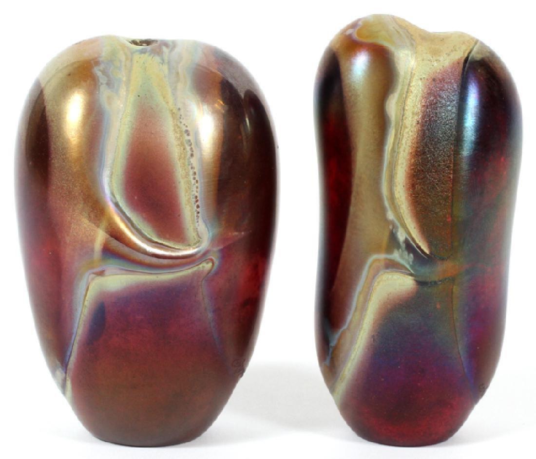 ROBERT COLEMAN IRIDESCENT ART GLASS VASES, 1985
