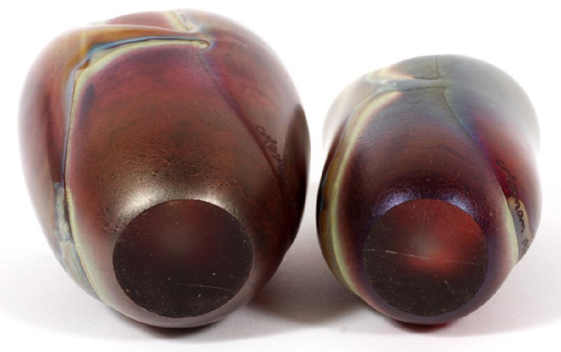 ROBERT COLEMAN IRIDESCENT ART GLASS VASES, 1985 - 2