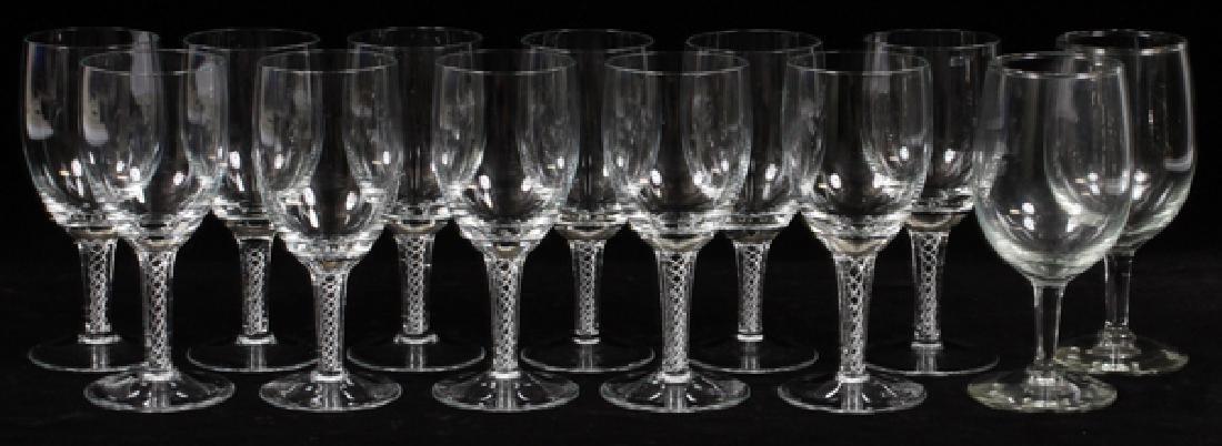 """GLASS SPIRAL STEM WINE GOBLETS, SET OF 11, H 6"""""""