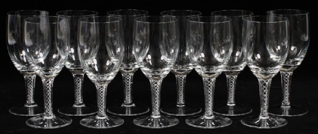 """GLASS SPIRAL STEM WINE GOBLETS, SET OF 11, H 6"""" - 2"""