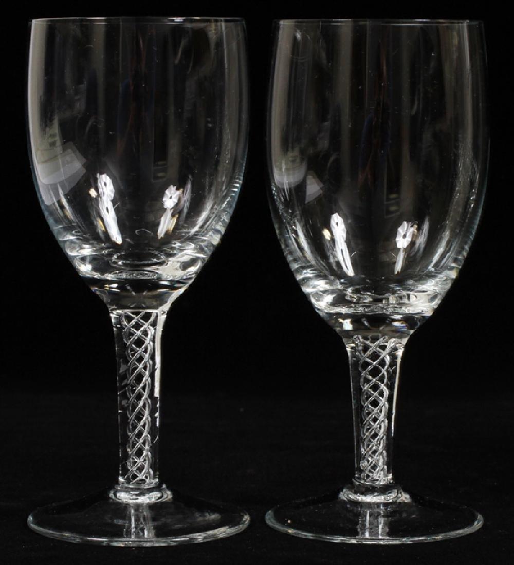 """GLASS SPIRAL STEM WINE GOBLETS, SET OF 11, H 6"""" - 3"""