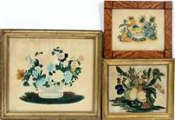 AMERICAN ANTIQUE HAND-PAINTED THEOREM PAINTINGS