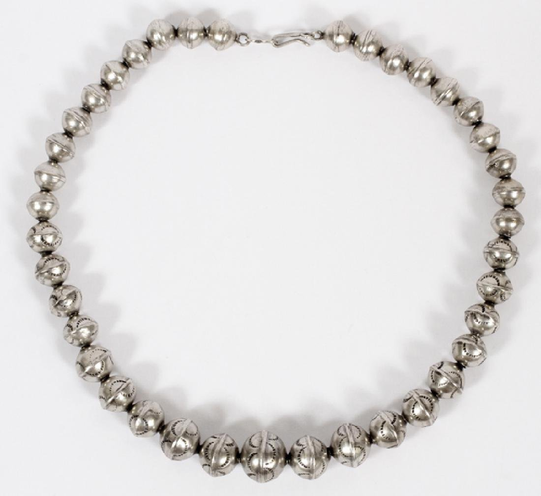 STERLING SILVER, GRADUATED HOLLOW BEAD NECKLACE