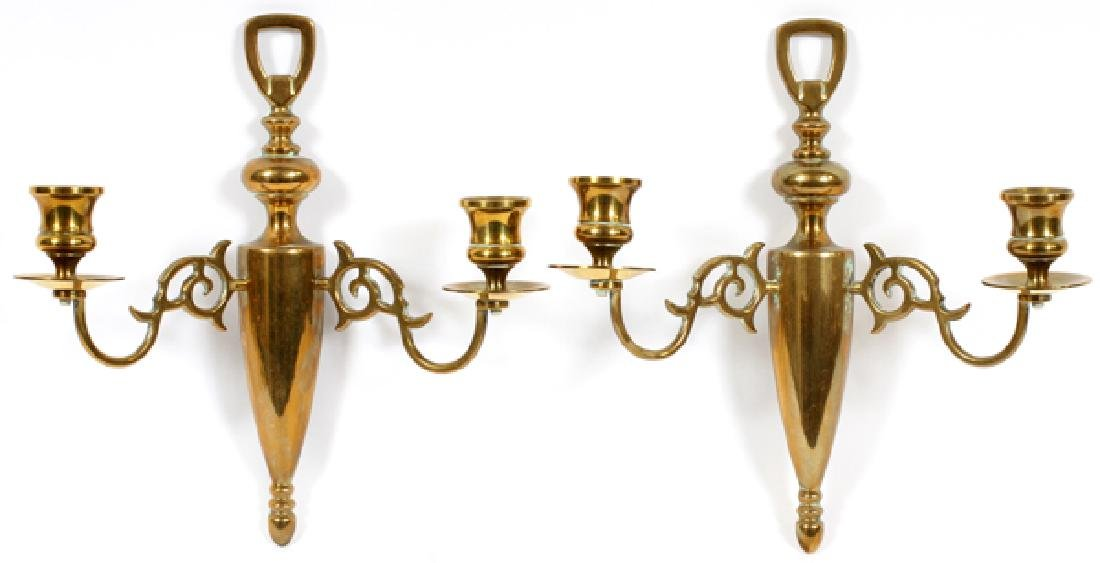 ENGLISH BRASS TWO-ARM SCONCES, PAIR