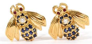 TIFFANY & CO. DIAMOND SAPPHIRE & GOLD EARRINGS