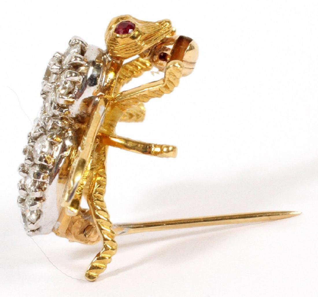 DIAMOND AND 18K YELLOW GOLD BROOCH PIN - 2