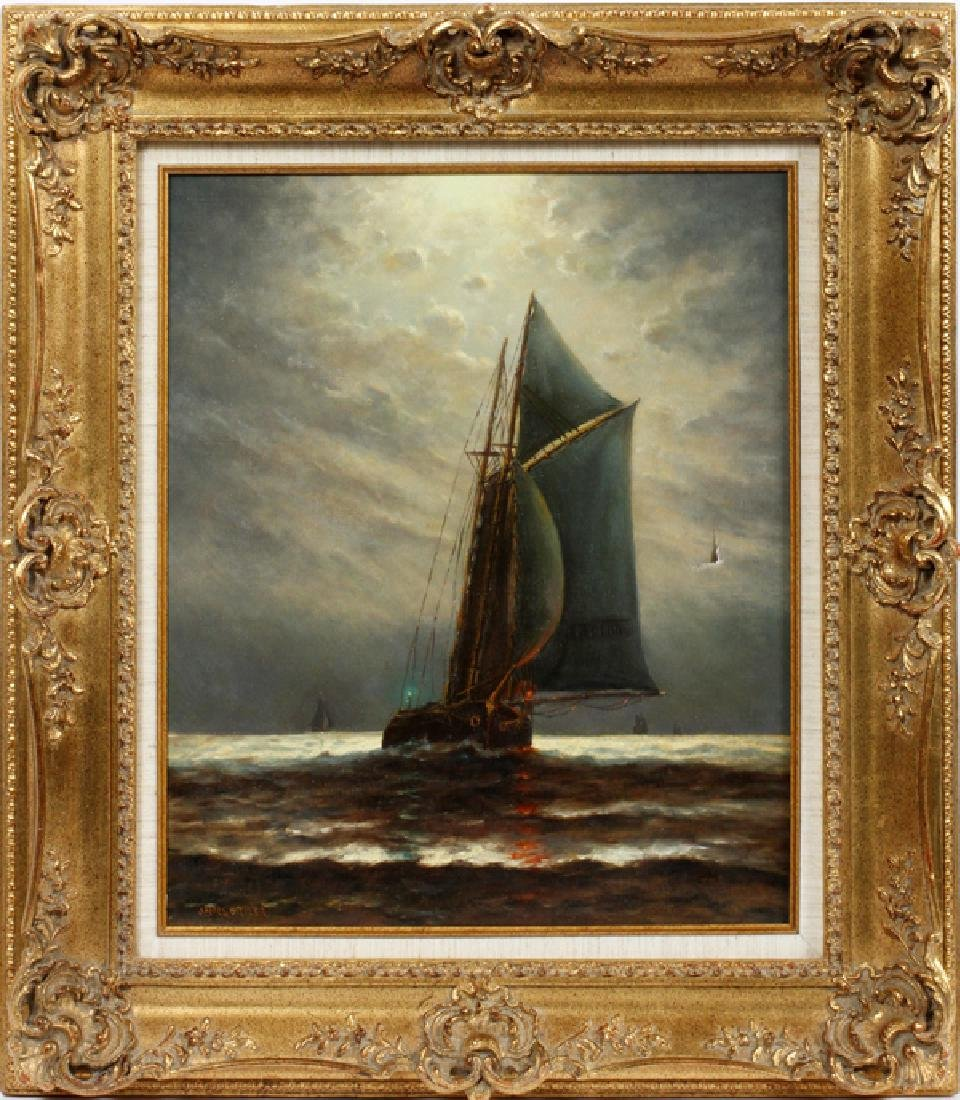 JAMES G. TYLER OIL ON CANVAS SAILING SHIP