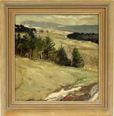 GEORG HOHLIG OIL ON BOARD 1921 LANDSCAPE