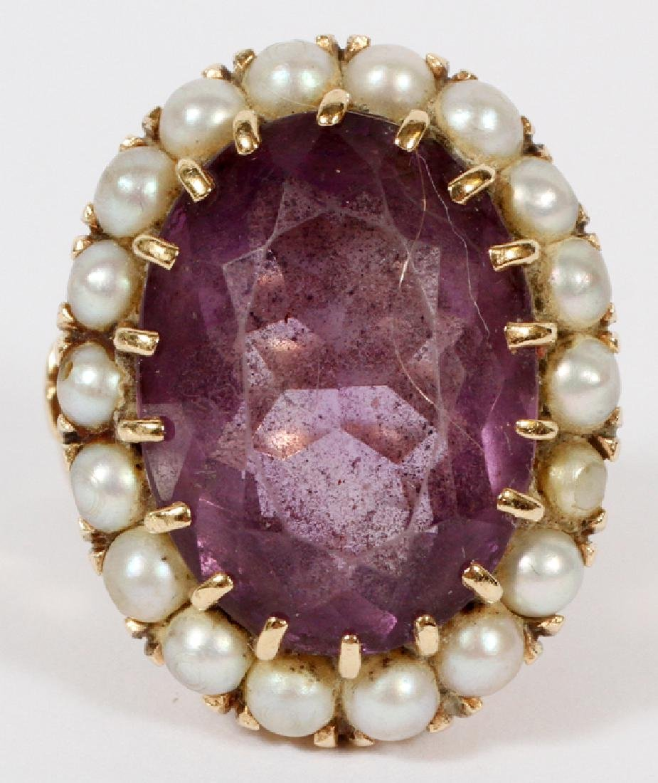 11 CT OVAL AMETHYST & SEED  PEARLS 14 KT GOLD RING