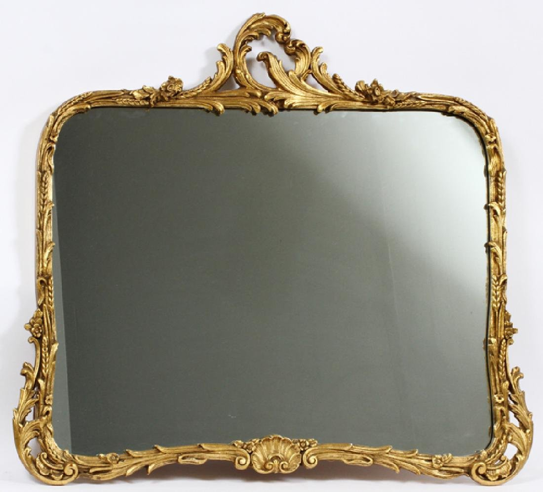 "CARVED GILT WOOD AND GESSO MIRROR, H 33"", W 39"""