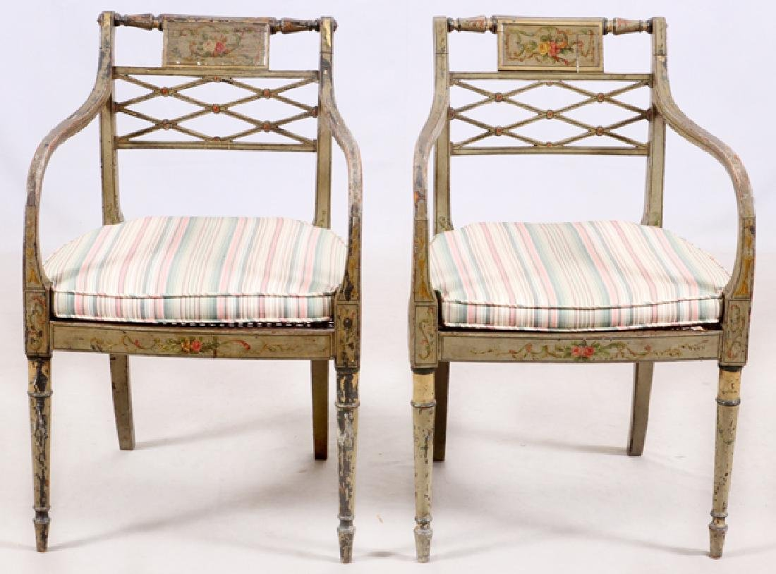 ANTIQUE PAINTED CARVED WOOD ARM CHAIRS, PAIR