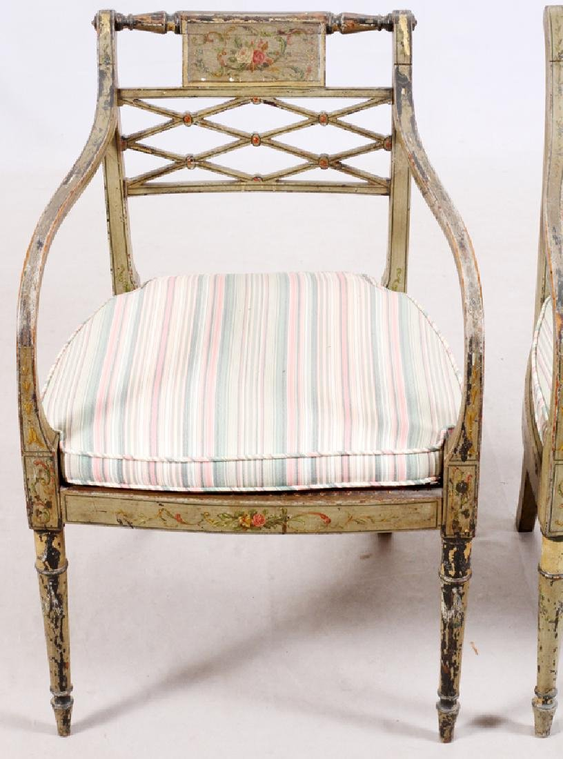 ANTIQUE PAINTED CARVED WOOD ARM CHAIRS, PAIR - 2