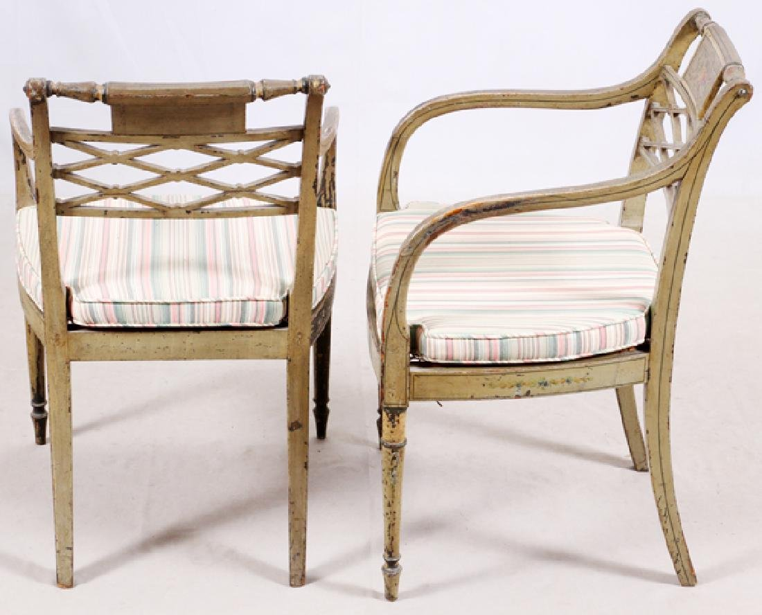 ANTIQUE PAINTED CARVED WOOD ARM CHAIRS, PAIR - 4