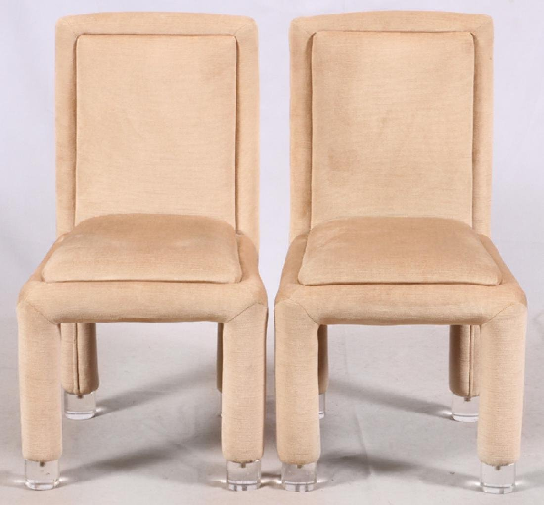 MODERN UPHOLSTERED SIDE CHAIRS, PAIR