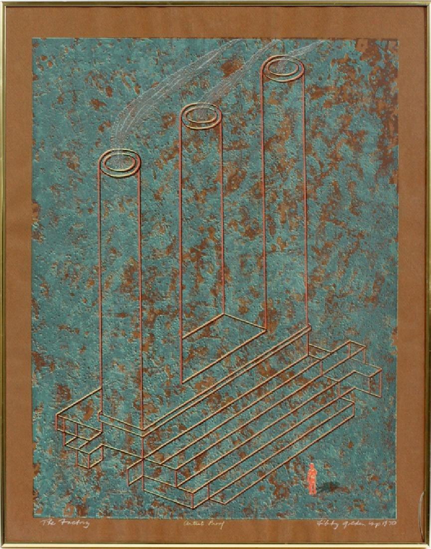 "LIBBY GOLDEN COLOR AQUATINT, 1970 ""THE FACTORY"""