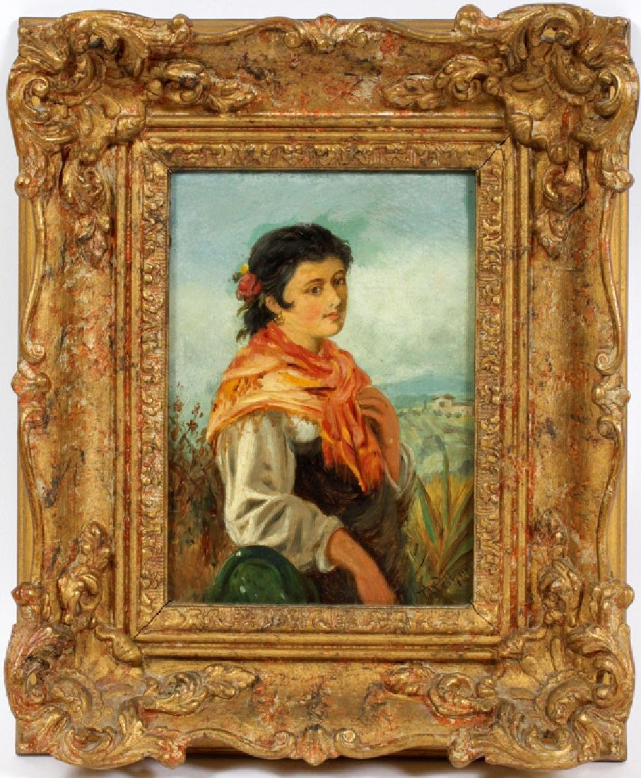 OIL ON WOOD PANEL PORTRAIT OF A YOUNG WOMAN
