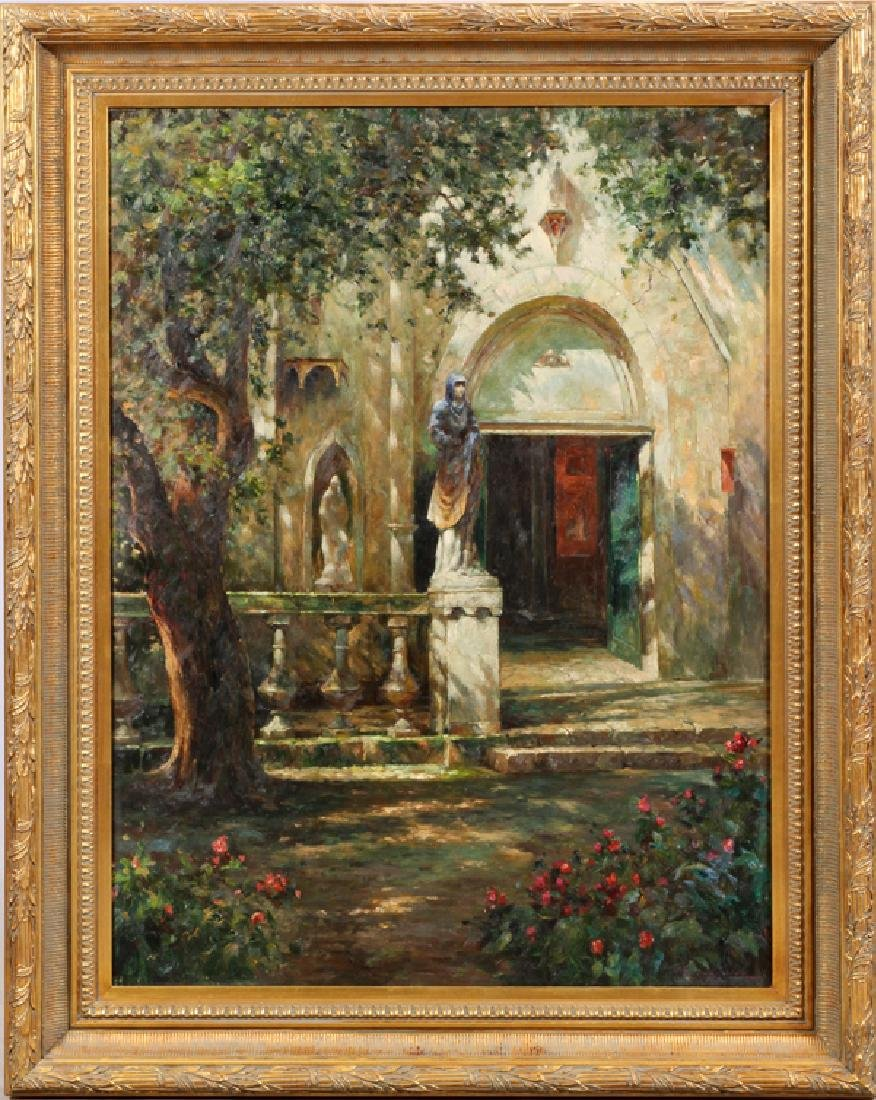 SIGNED OIL ON CANVAS SHADED CHURCH COURTYARD