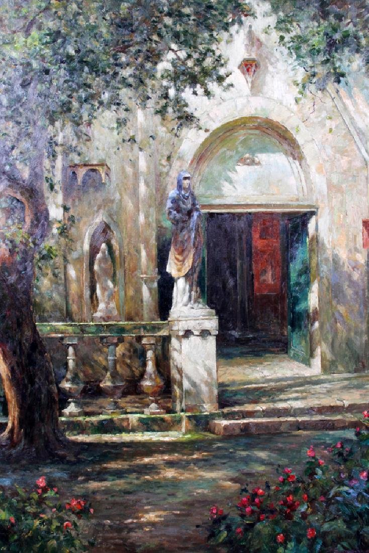 SIGNED OIL ON CANVAS SHADED CHURCH COURTYARD - 2