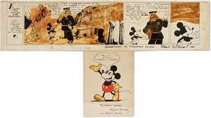 WALT DISNEY SIGNED STORYBOARD  WATERCOLOR 1936